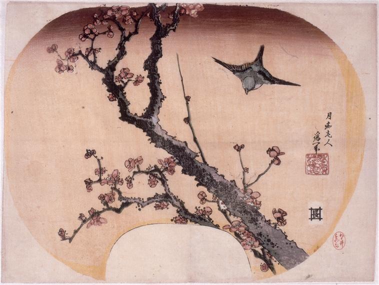 Hokusai Katsushika / Cerisier en fleurs et fauvette