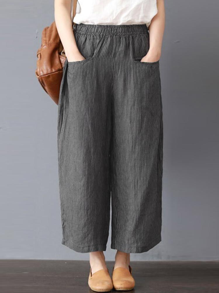 Women Stripe Elastic Waist Wide Leg Pants #businessmodedamen