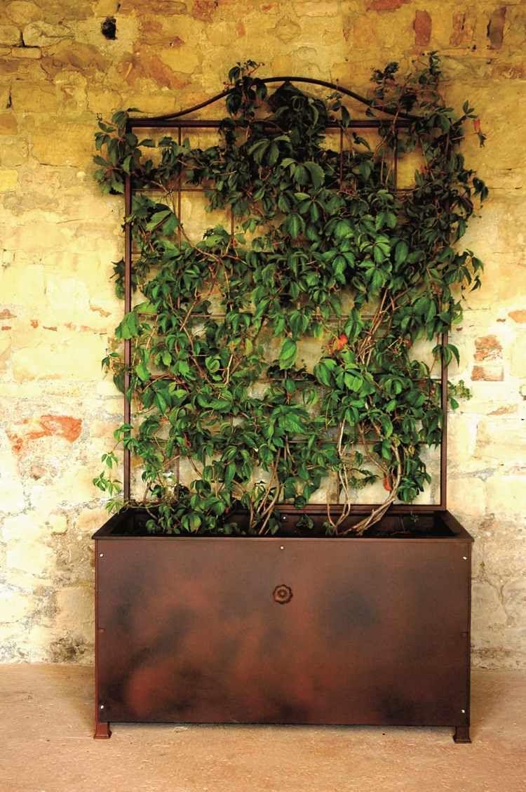 blumenkasten mit rankgitter aus metall im rustikalen look. Black Bedroom Furniture Sets. Home Design Ideas