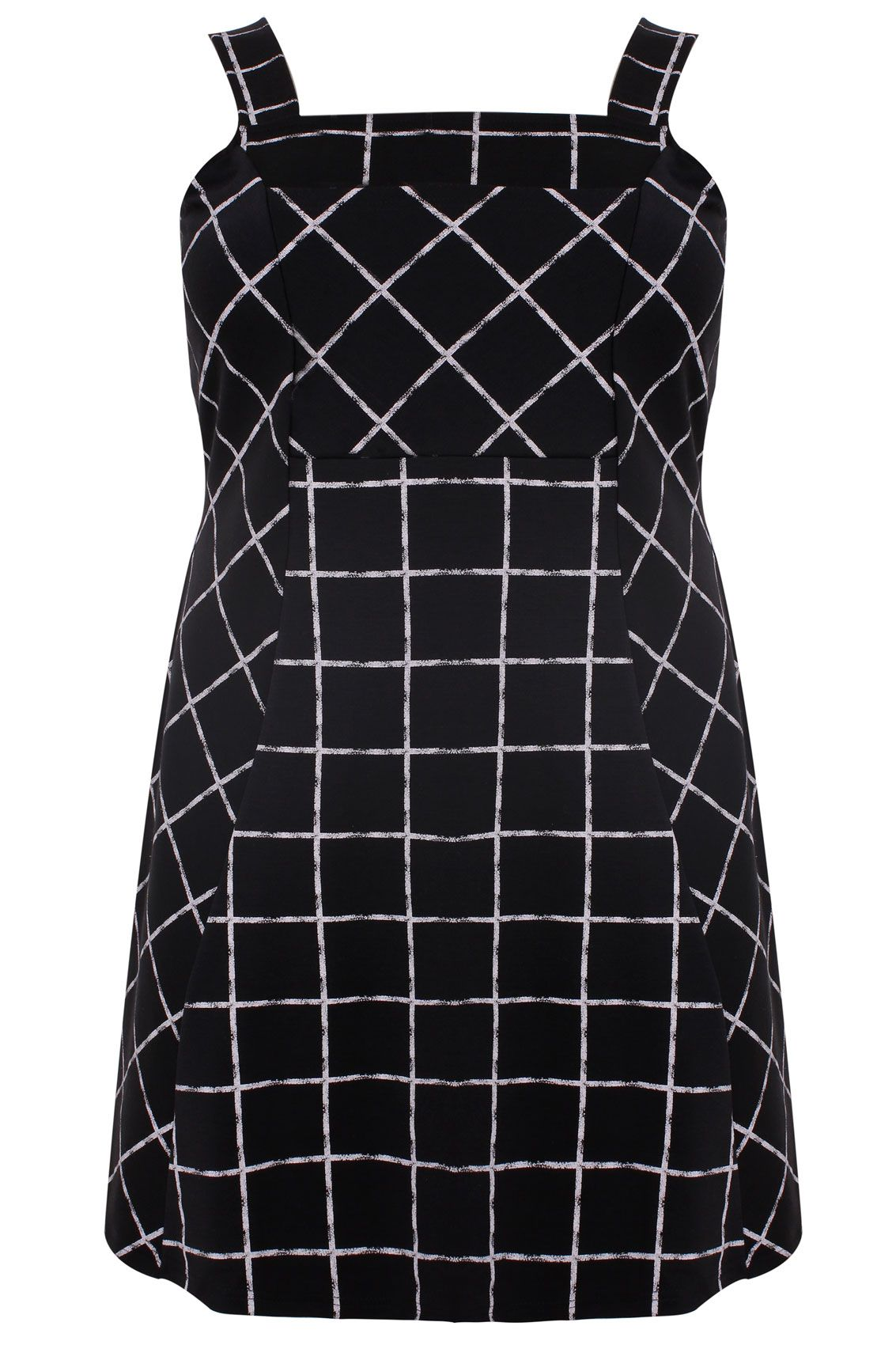 7d6b22629d8 Black   White Check Print Skater Pinafore Dress With Front Pouch Plus size  14