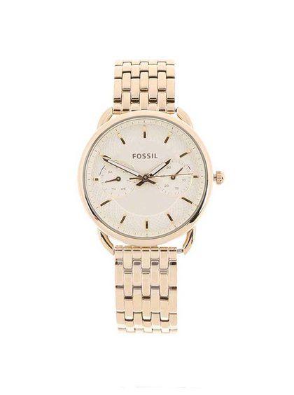 Dámské hodinky ve zlaté barvě s nerezovým páskem Fossil Tailor ... ec8a93770b