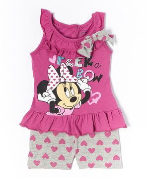 Look what I found on #zulily! Minnie's Bow-Tique Purple & Gray Minnie Mouse Ruffle Tank & Heart Shorts - Infant by Minnie's Bow-Tique #zulilyfinds