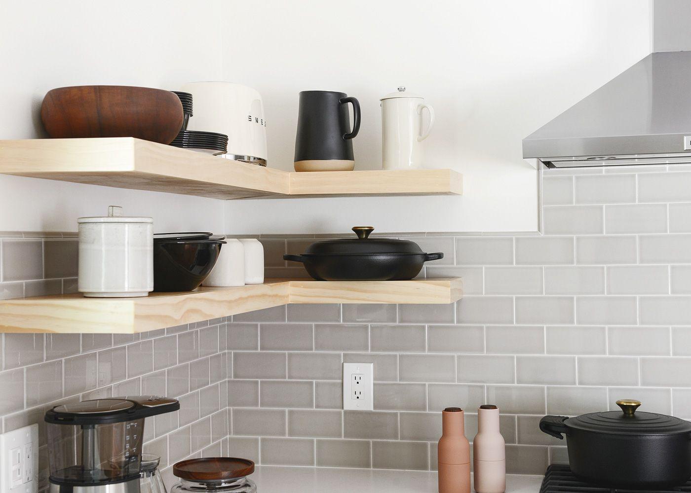 The Tree House Kitchen Reveal Floating Shelves Diy Herringbone