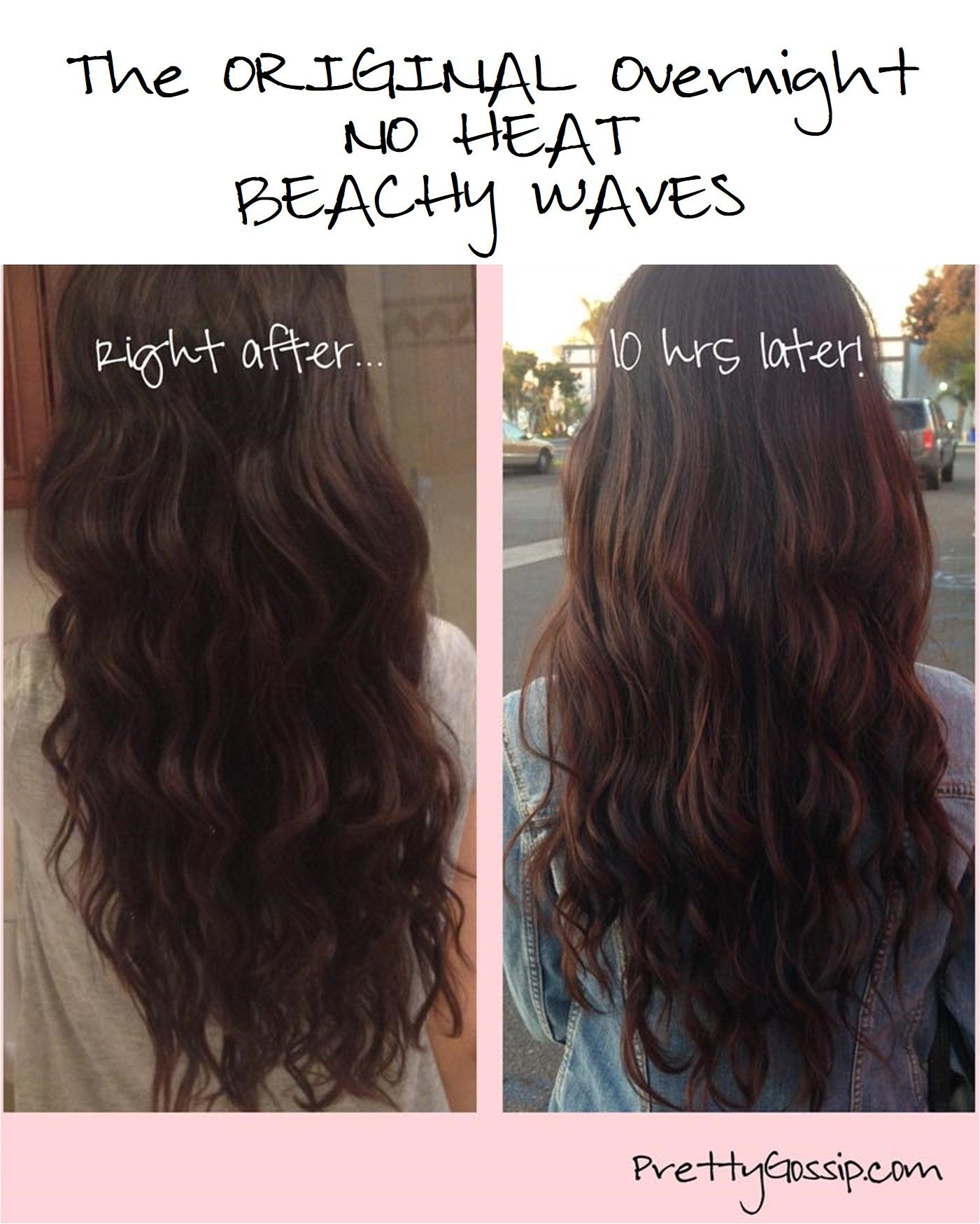 How To Get Beachy Waves With No Heat Wavy Hair Overnight Straight Wavy Hair Wavy Hairstyles Tutorial