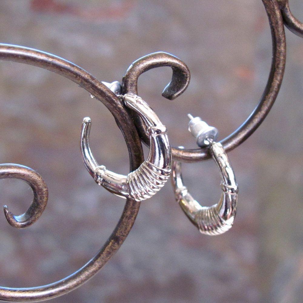 Vintage Huggie Earrings ~ Tailored Designer Style ~ Small Petite Hoops ~ Pierced Post Hoop Earrings ~ Silver-Plated - Hypo Allergenic by CatherinesVintageJoy on Etsy