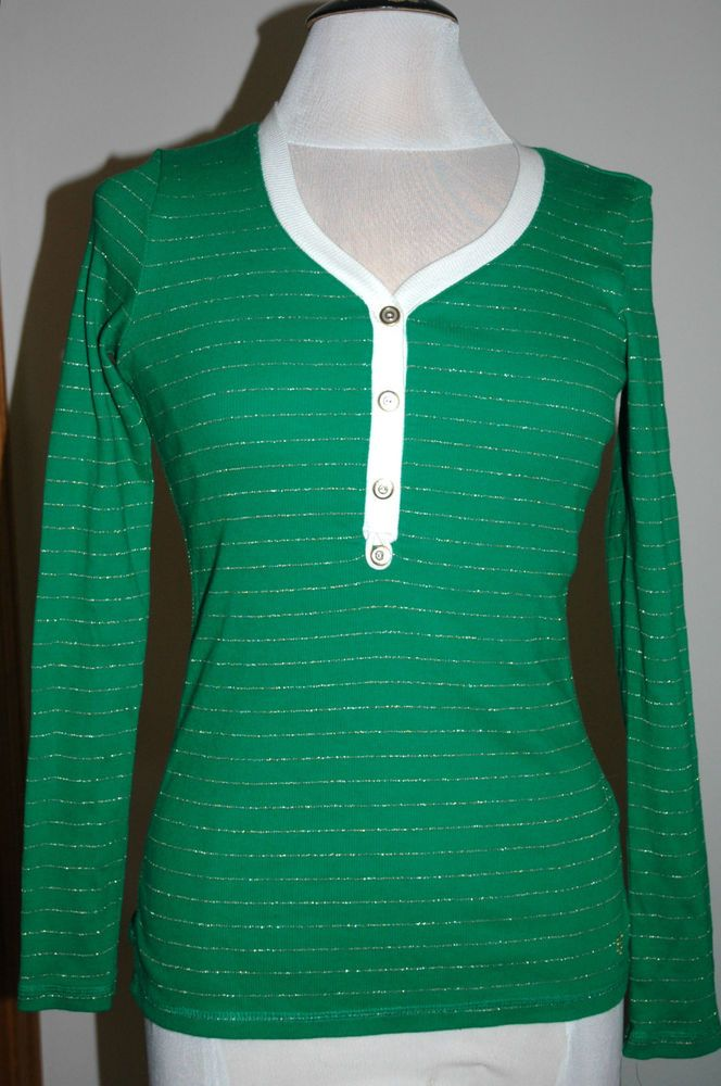 Tommy Hilfiger Women's Light Weight Knit Sweater Green Stripe Size XS $49.50 NWT #TommyHilfiger #VNeck