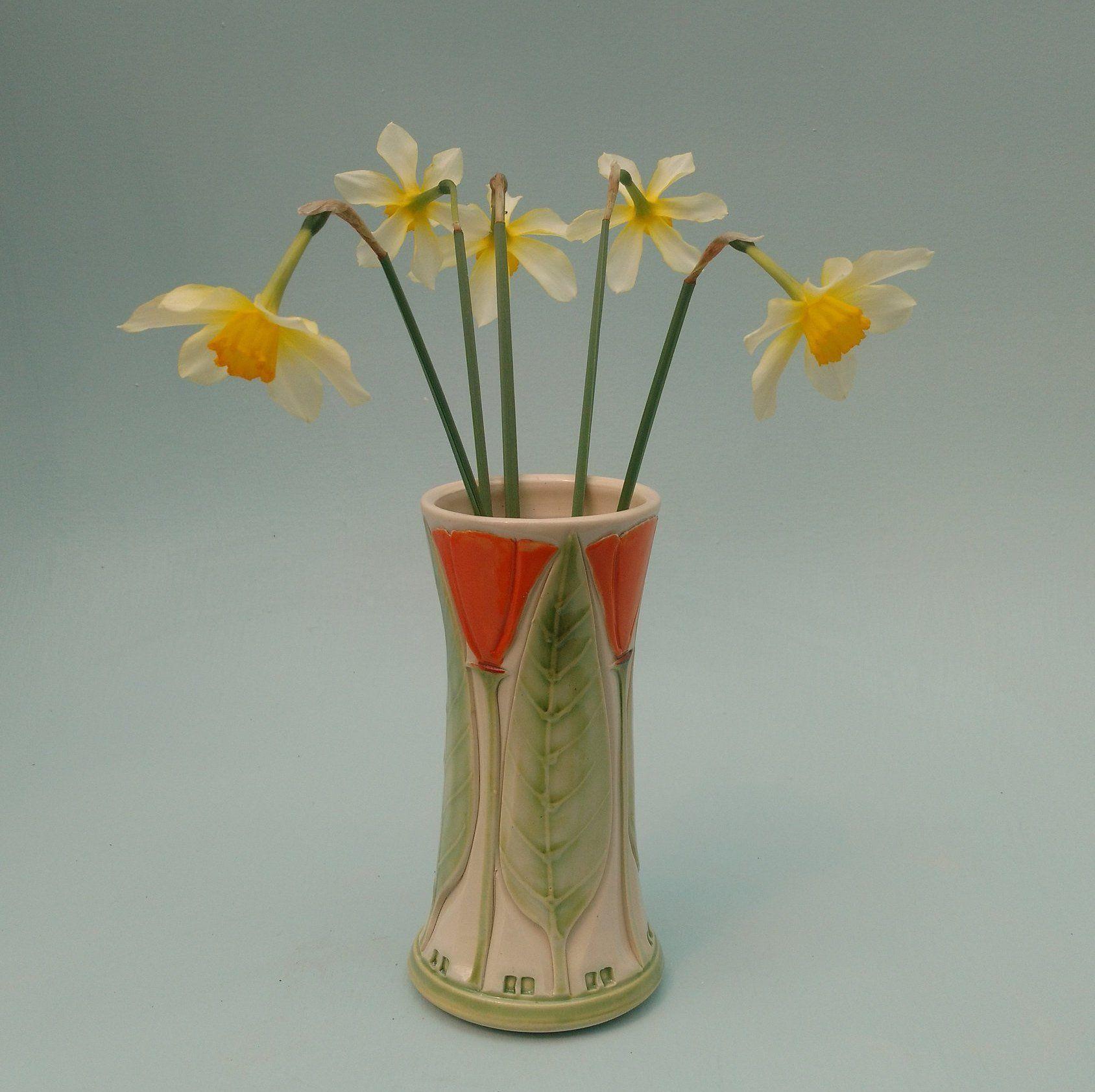 Art Nouveau Inspired California Poppy By Mason Larose: Arts And Craft Mission Style, Orange California Poppy Vase