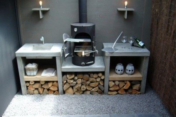 Zelf Barbecue Maken : Tuin en terras buiten keuken die zelf te maken is betonlook