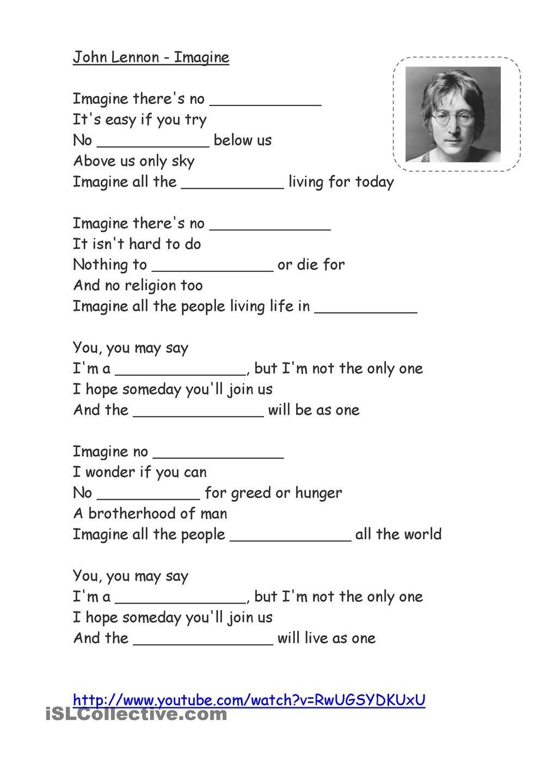Song Imagine John Lennon Caca Palavras Em Ingles Ensino De