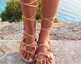 VERÃO sandálias SALES de couro, sandálias gladiador, couro sandálias de amarrar gregos, sandálias artesanais