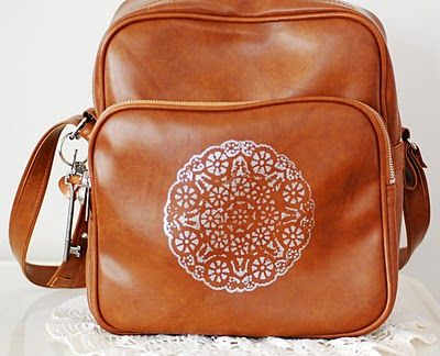 Cute Way To Decorate A Plain Bag Just Use A Doily And A Paint