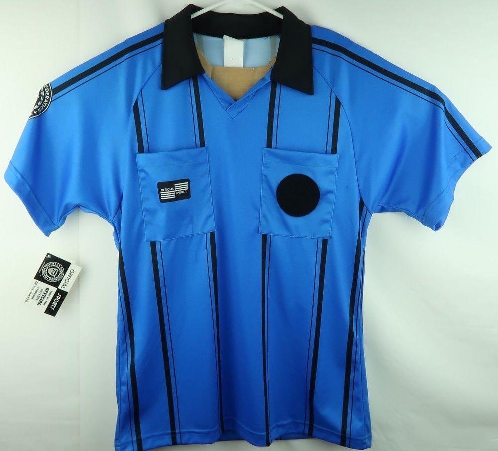 303bec6bcbe Official Sports US Soccer Referee Uniform Shirt Men s Small Blue Black  Stripe (eBay Link)