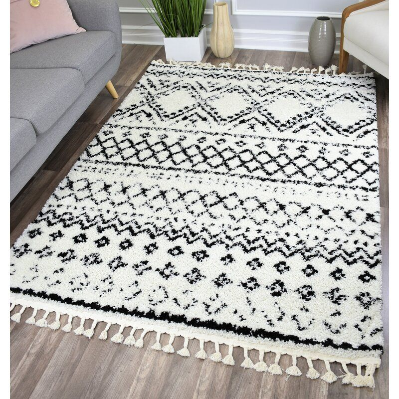 Reena White Black Area Rug Allmodern Black Area Rugs White Rug Living Room Rugs On Carpet