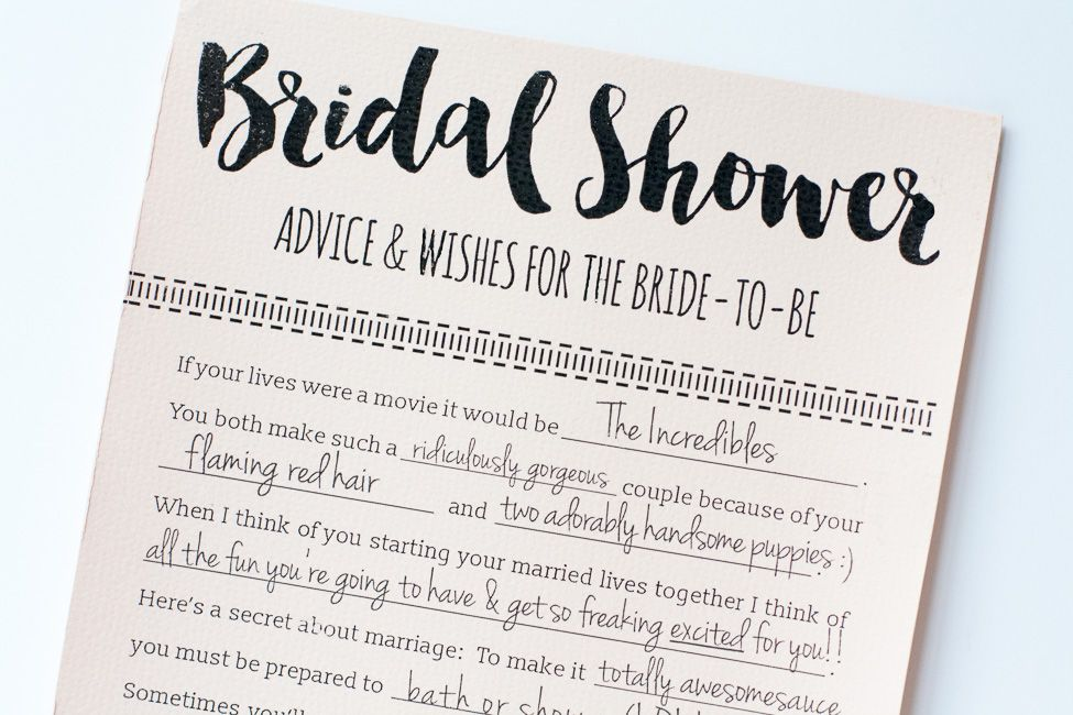 Fun printable bridal shower advice cards free download