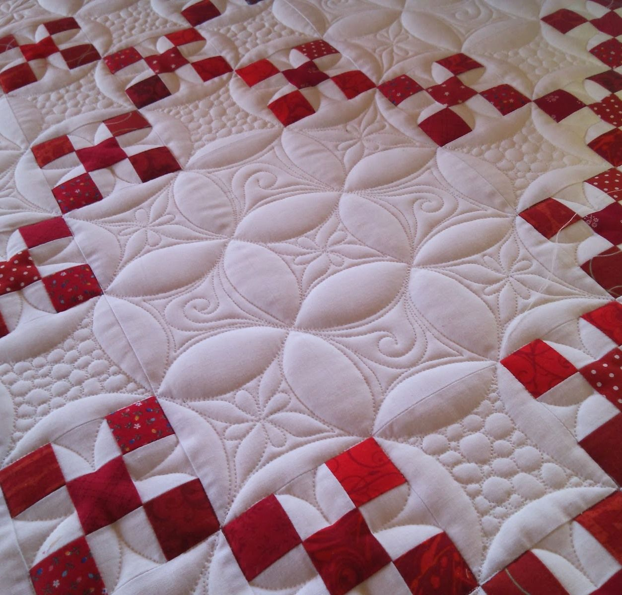 "Quilting by Marlene Baerg Oddie at KISSed quilts. Double Nine Patch quilt published in ""Red, White and Quilted"" by Linda Baxter Lasco 