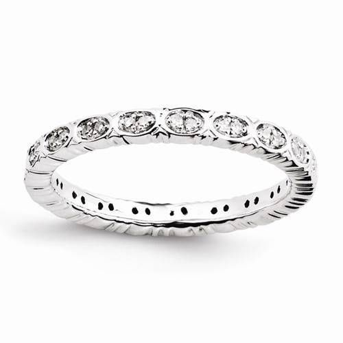 NEW STERLING SILVER RHODIUM PLATE DIAMOND STACKABLE 1/6 CTTW POLISHED RING SZ 10 #StackableExpressions #Stackable