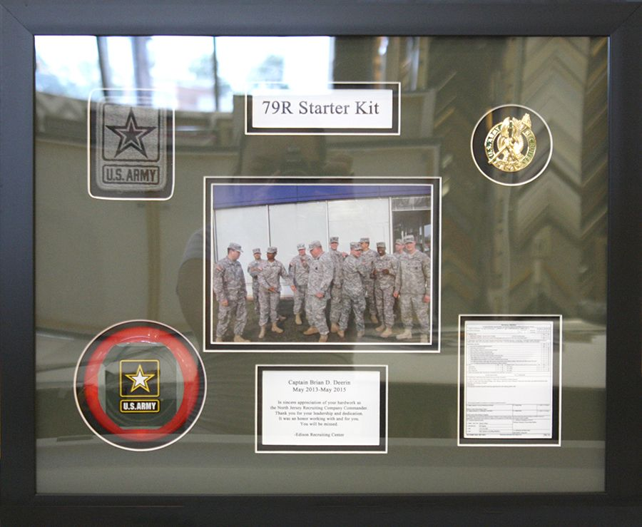 Collage army frame with custom cut mat opening.Designed and framed ...