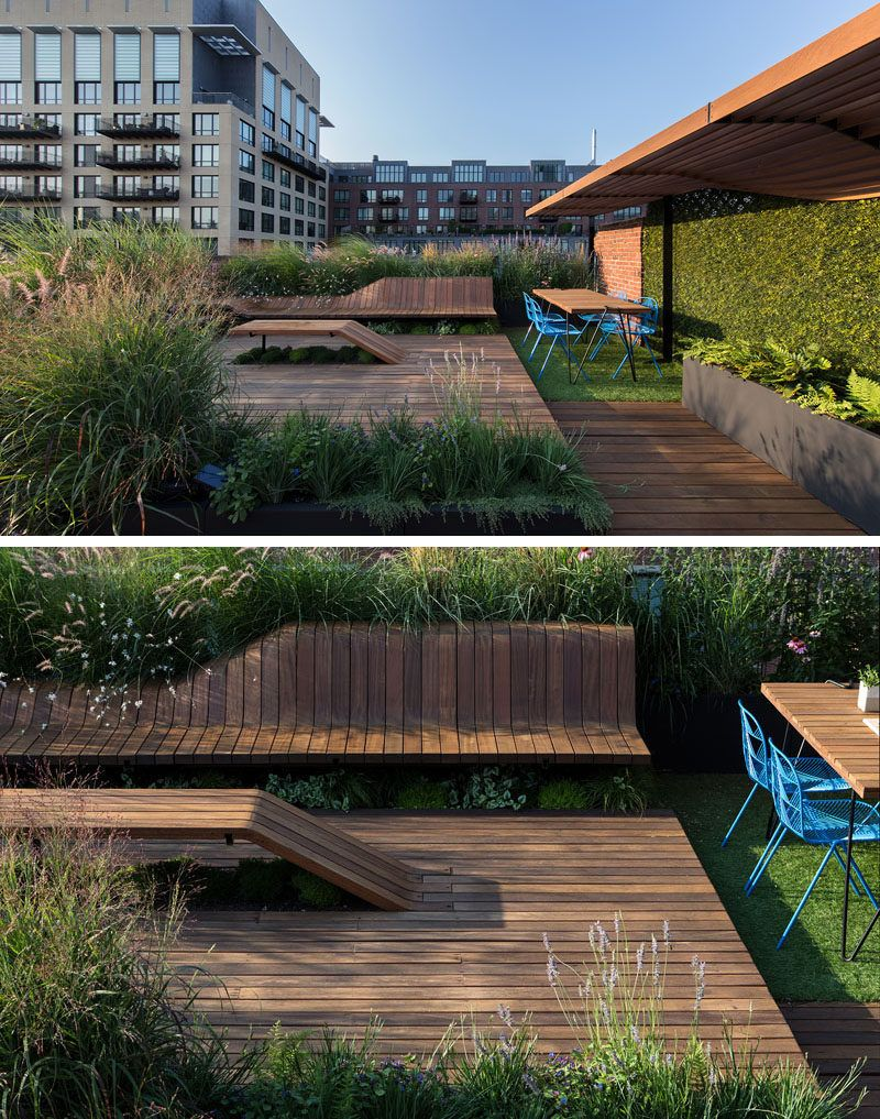 This Rooftop Deck Has Custom Designed Wood Benches Surrounded By Greenery Pergola Shade Diy Rooftop Deck Roof Garden