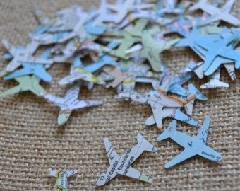 atlas airplane confetti, map confetti, wedding confetti, going away party confetti- 150 pieces