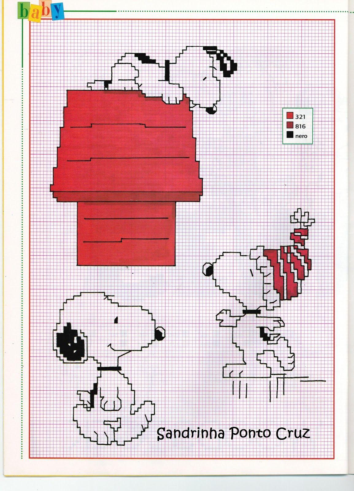 Snoopy | Cross stitch | Pinterest | Punto de cruz, Puntos y Punto de ...