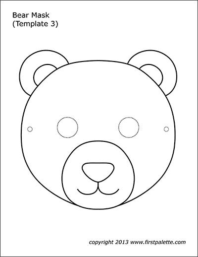 Bear Masks Free Printable Templates Coloring Pages Firstpalette Com Bear Mask Bear Mask Template Animal Masks For Kids