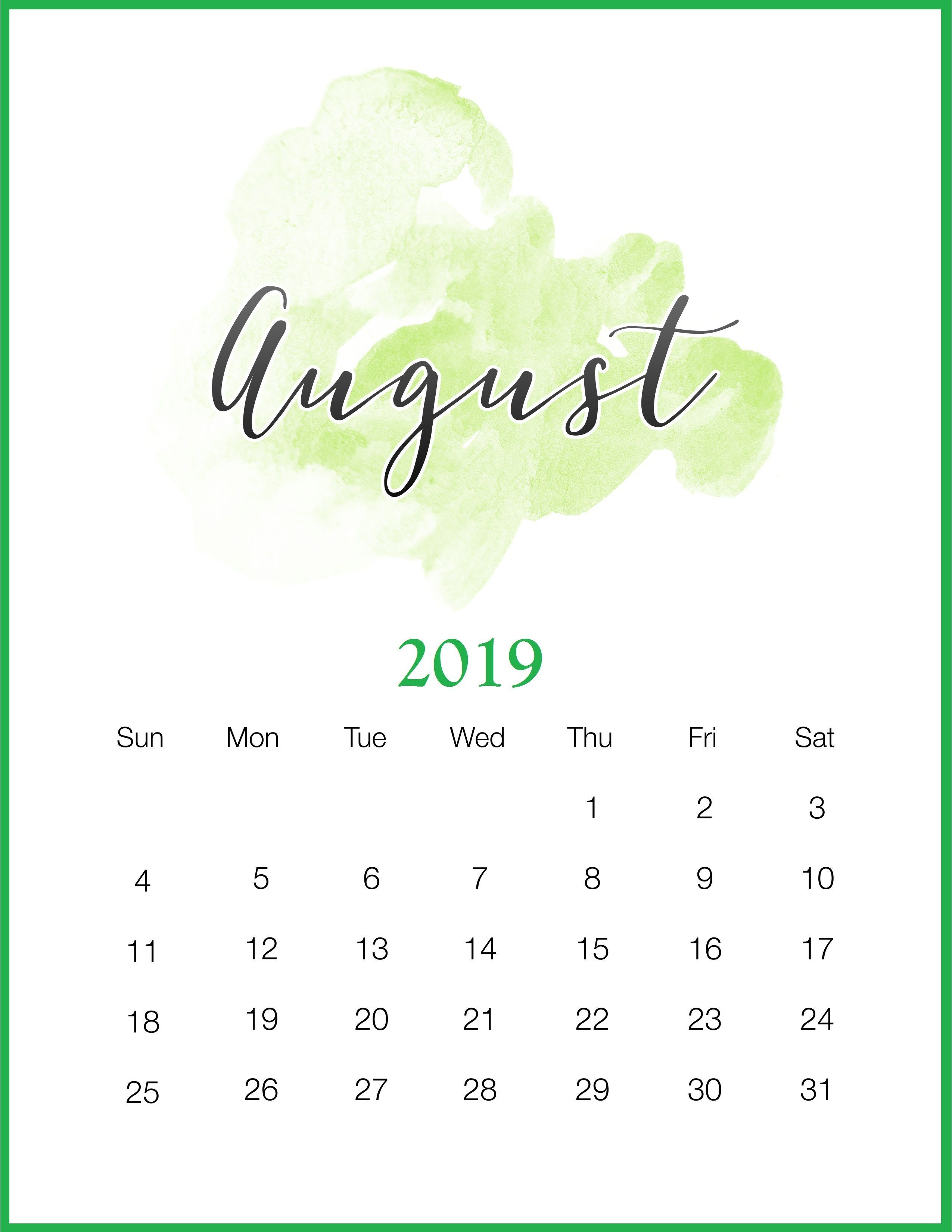 August 2019 Calendar Kalender August Kalender Tumblr Hintergrunde