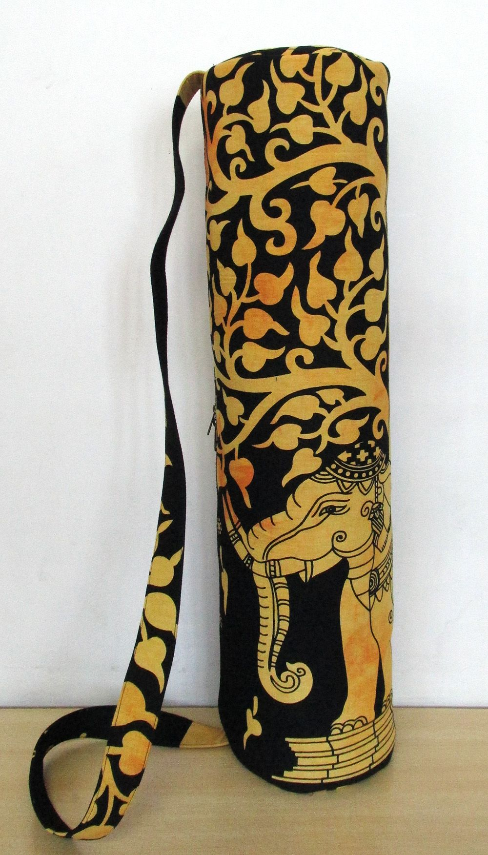 Indian Mandala Elephant Gypsy Yoga Mat Carry Bag With Shoulder Strap Carrier Bag
