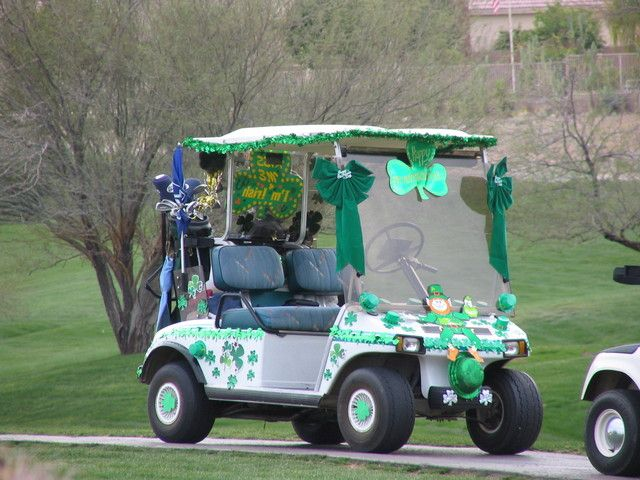 Happy St. Patrick's Day! That's one unique way to celete the ... on maleficent golf cart, unicorn golf cart, ghostbusters golf cart, predator golf cart, gnome golf cart,