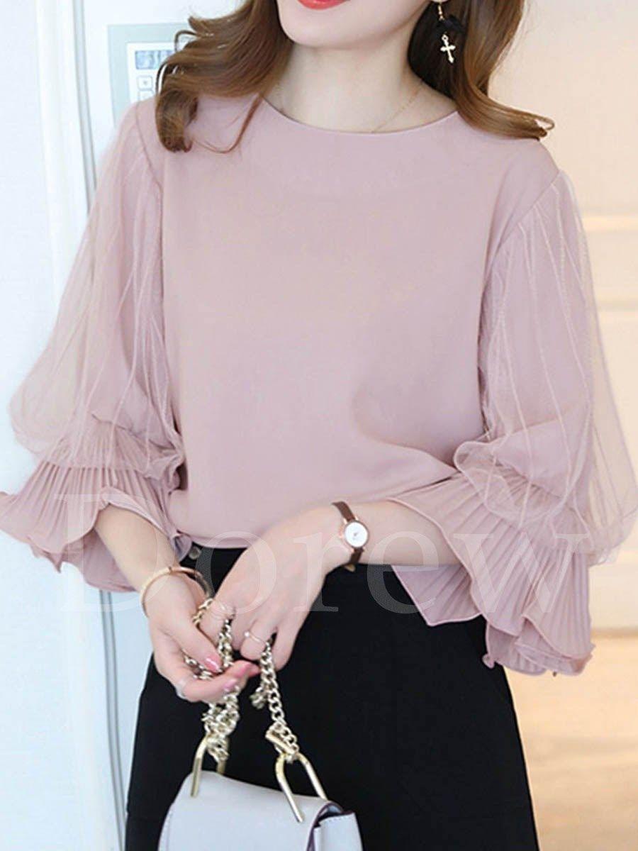 9a285b373e648 ファッション通販 #Fashion IMINOARU Dorew韓国風レースパフスリーブ大人可愛いブラウスレディースファッション