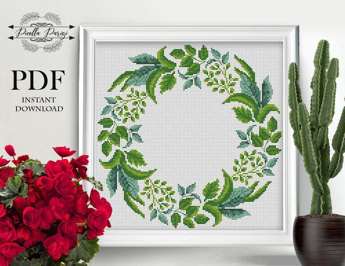 xstitch chart pillow Floral wreath cross stitch pattern rose flowers cross stitch PDF circle beautiful flowers floral border