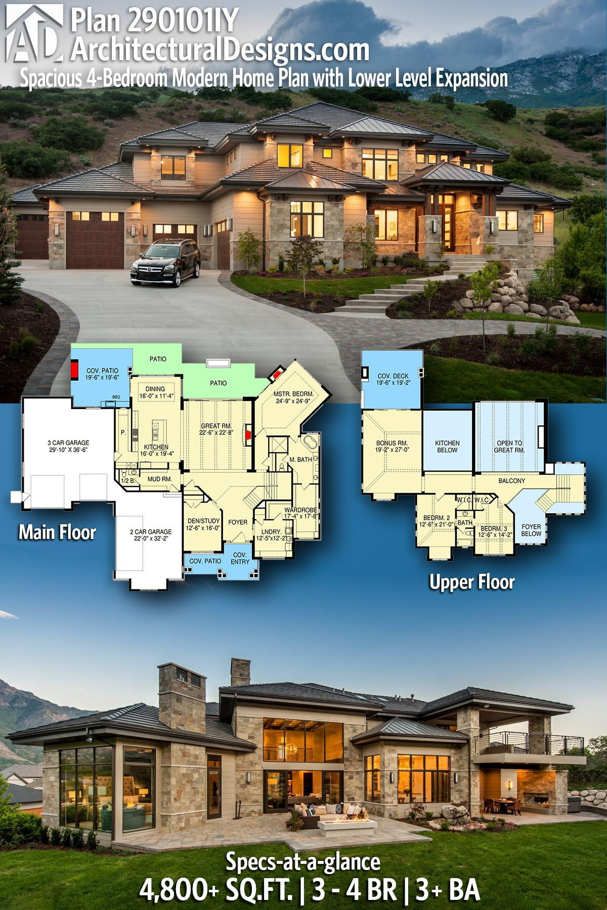 Plan 290101IY: Spacious 4-Bedroom Modern Home Plan with Lower Level Expansion