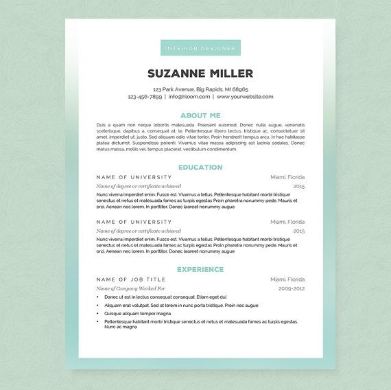 Ombre Resume Cover Letter References Template Package Cover