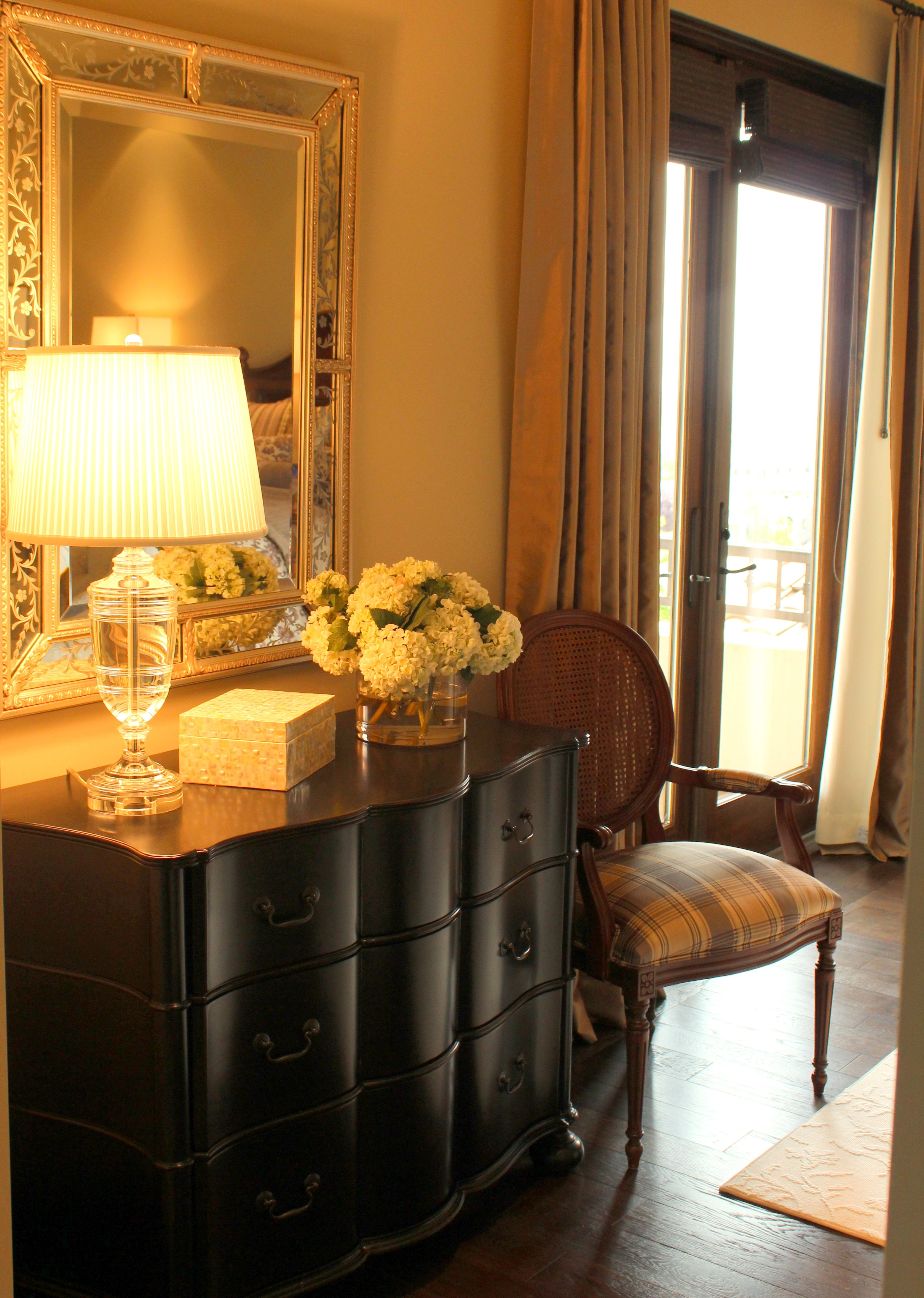 Master Bedroom AfterSerpenitine chest in black with