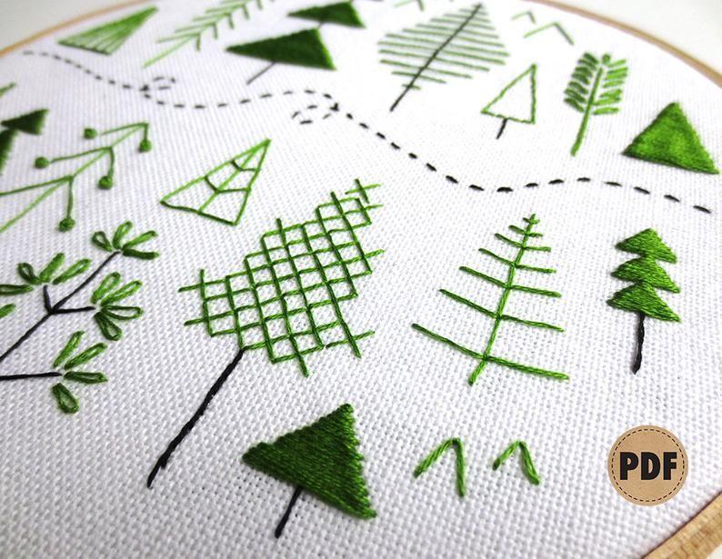 Forest Beginner Embroidery Pattern Scandinavian Modern Folk Art Pattern Stitch Sampler Pine Trees Woodland Modern Embroidery Pattern Scandinavian Embroidery Embroidery For Beginners Folk Embroidery