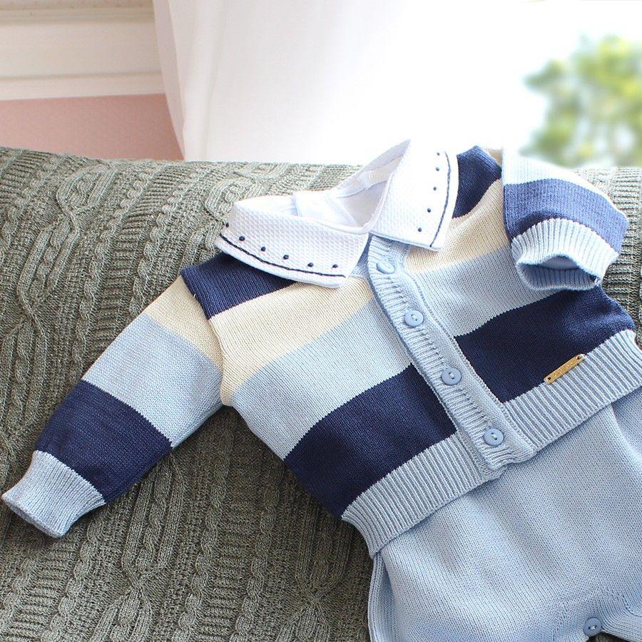 Saída de Maternidade Listrado 3 cores Azul Bebê  89d912d60b1