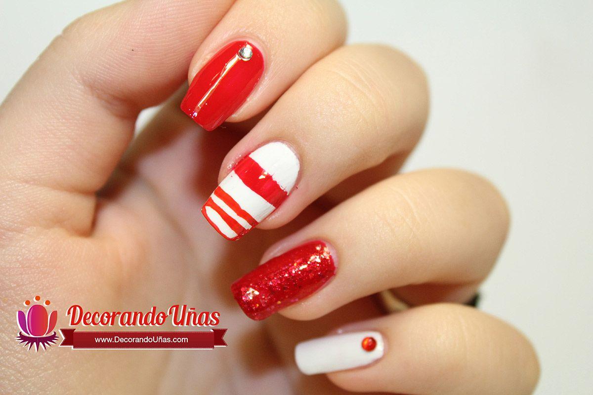 Uñas decoradas con lineas rojas - http://xn--decorandouas-jhb.com ...