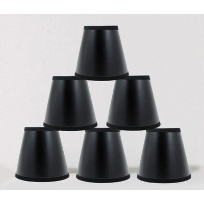 """3x5x4.5/"""" Urbanest Black Parchment Chandelier Shades with Silver Liner"""
