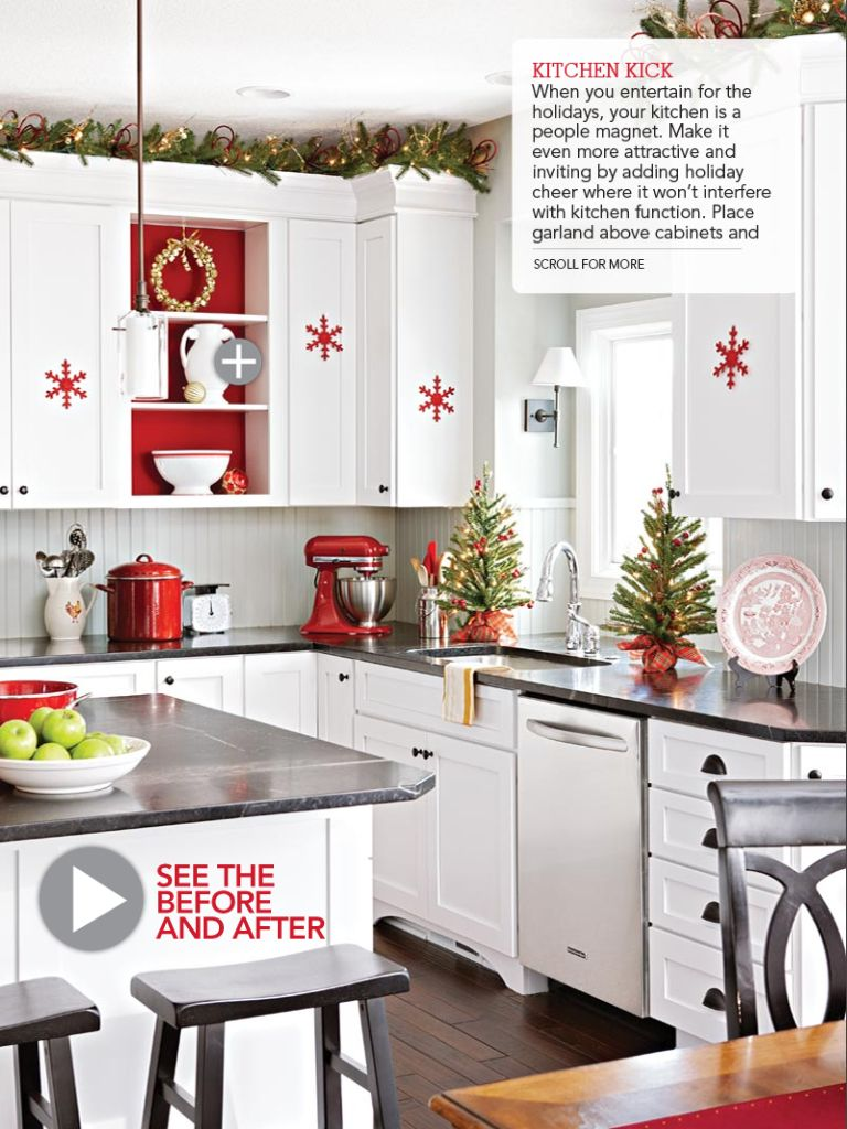 Lovely modern white kitchen with small red snowflake stickers as well chic green garland on cabinets christmas decorating ideas for also best images rh pinterest