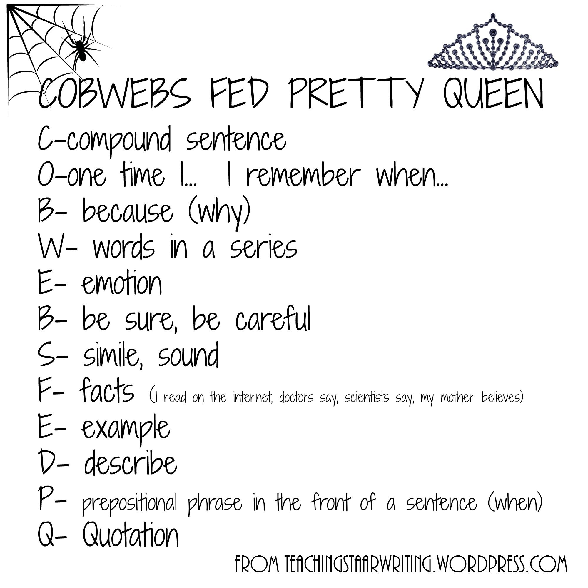 Expository Checklist Cobwebs Fed Pretty Queen