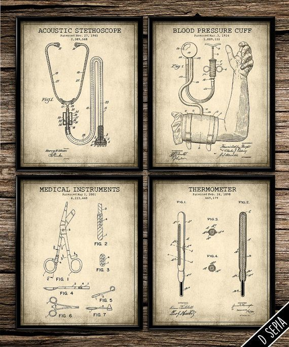 Awesome Patent Medical Set | Vintage Prints | Patent Print | Home Decor | Office  Decor |
