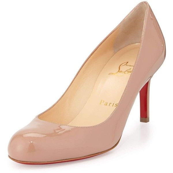 593a9840d86 Christian Louboutin Simple Patent Red Sole Pump (£550) ❤ liked on Polyvore  featuring shoes