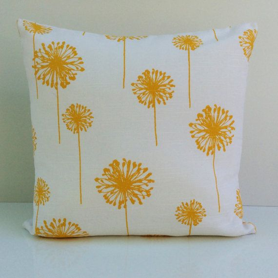 Yellow White Pillow Cover Decorative Throw Pillow Cover Cushion Cover Accent Pillow Large Dandelion Pillow Lumbar Pillow Boho Pillow Throw Pillows Pillow Cover Design Pillows