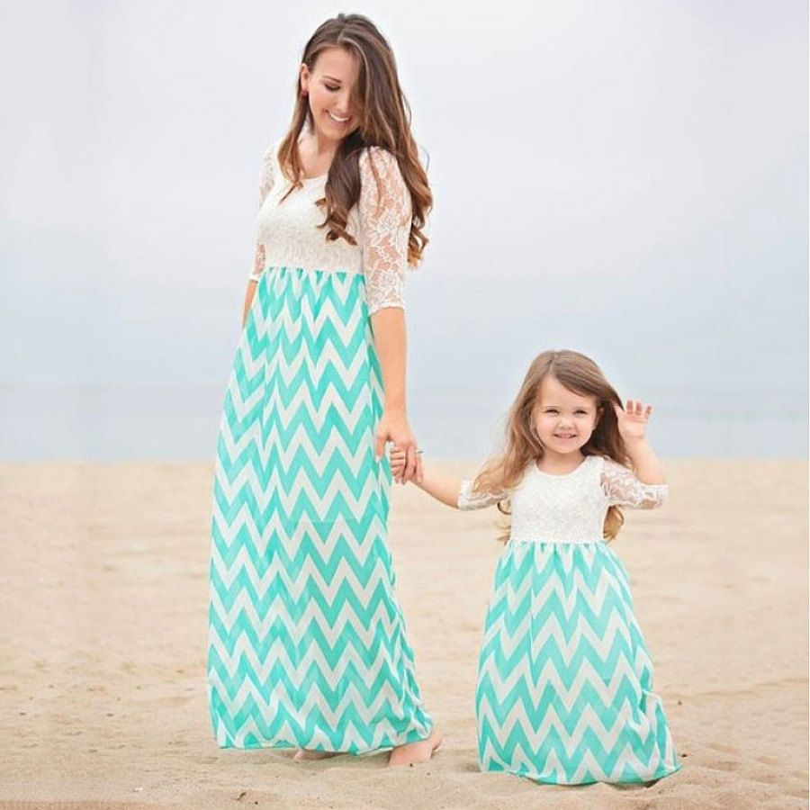 ba0251320f10e Mom Girl Stripes Lace Patchwork Matching Dress #matching outfits ...