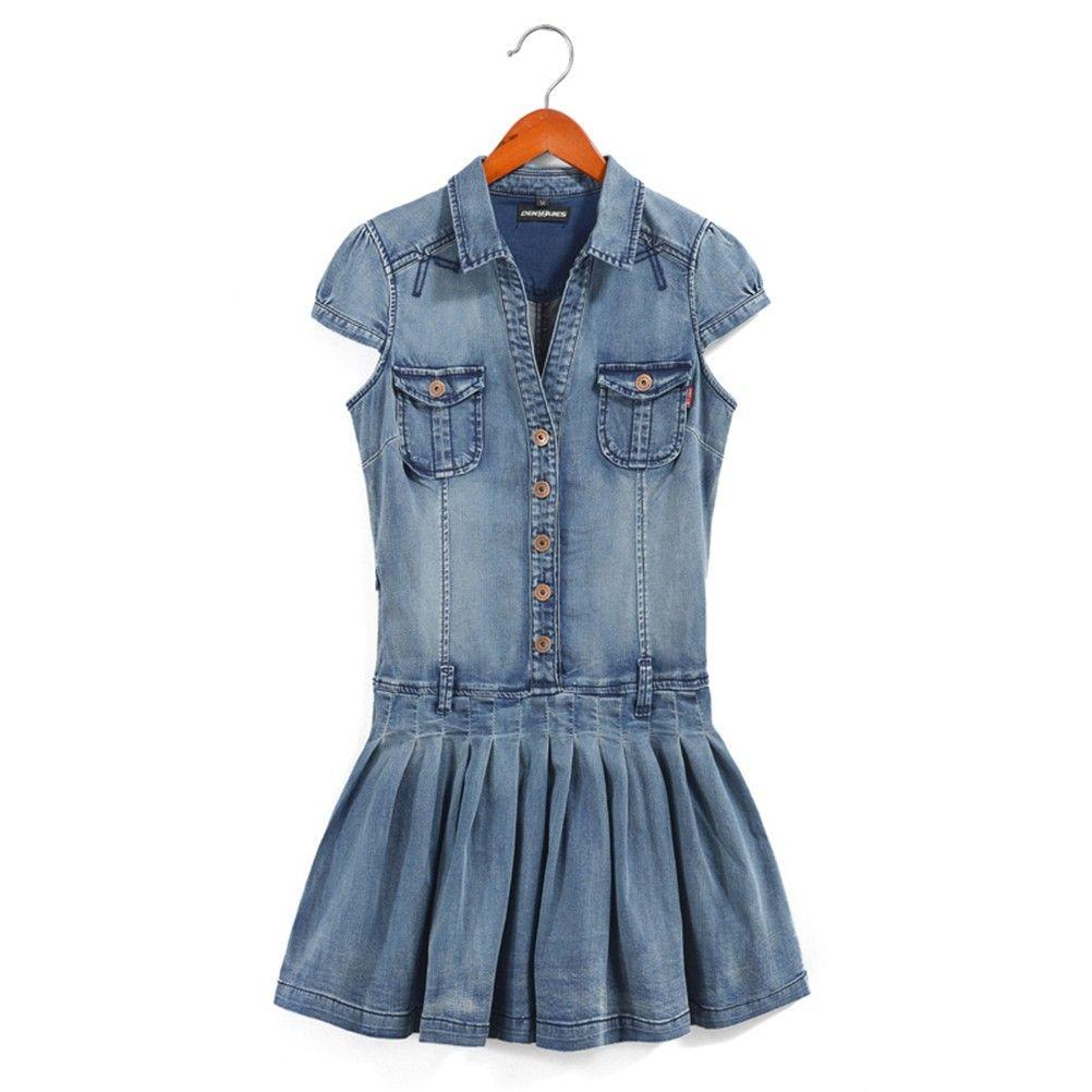 Denim short sleeves dress with belt short sleeve dresses