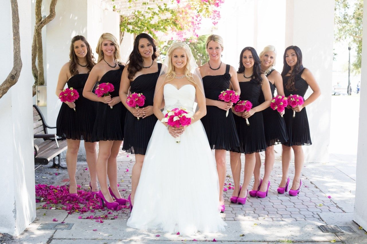 Show us your wedding day pictures black bridesmaids pink shoes