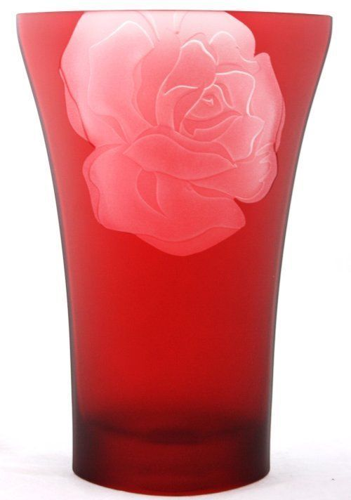 Mikasa 10 Ruby Red Rose Glass Flower Vase Beautiful Glassware