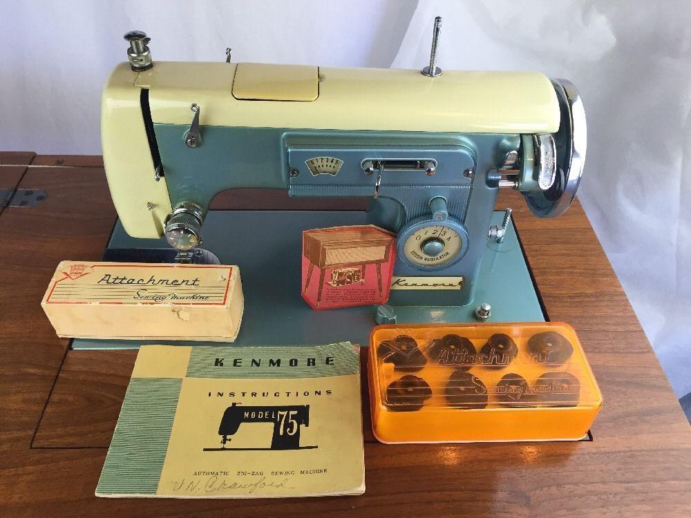 Beautiful Vintage Sears Kenmore Zigzag Sewing Machine With Hideaway Cabinet