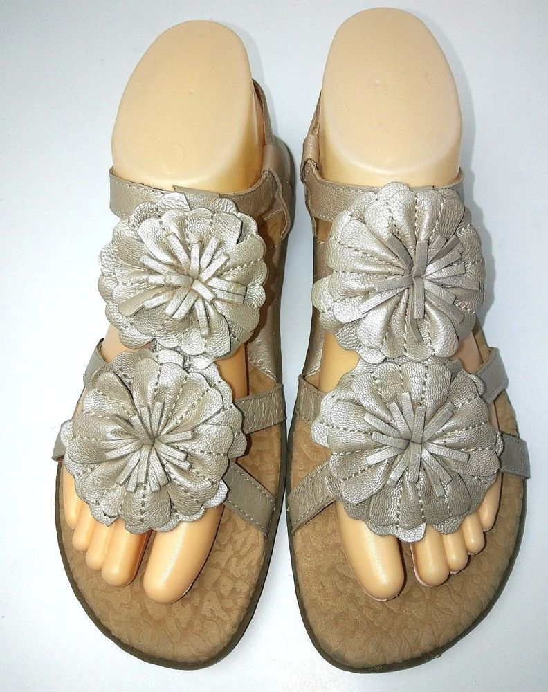 c2045cdbfc6 BOC Born Concepts Womens Flat Sandals Size 8 Champagne Silver Flower Ankle  Strap  Brn  FlatSandals