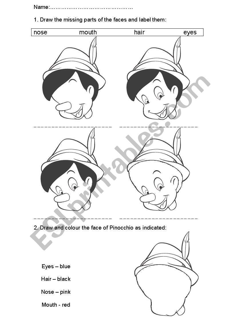 Firstly Students Draw The Missing Parts Of The Faces Of Pinocchio And Older Students Label Them Secondly They Pinocchio Student Drawing Reading Worksheets [ 1169 x 821 Pixel ]