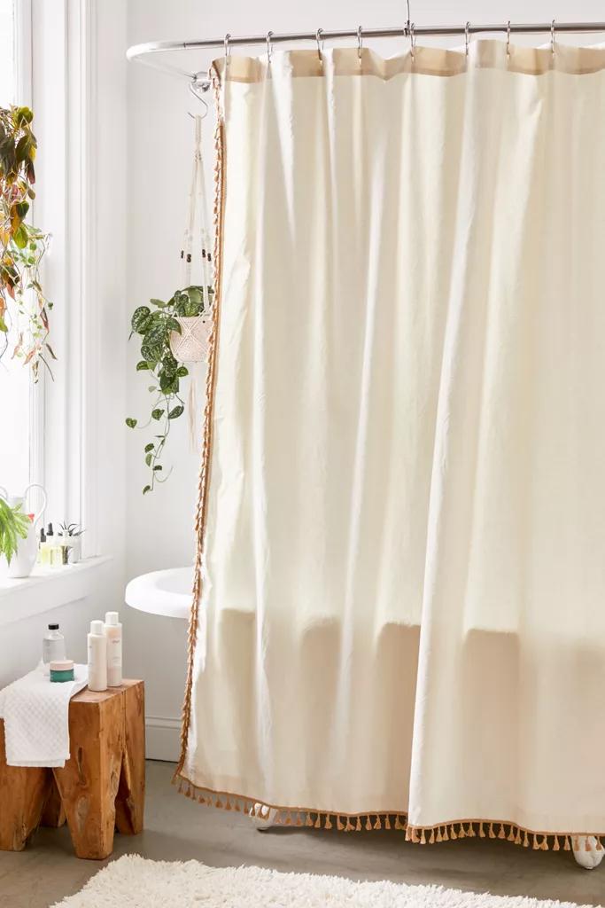 Allie Tassel Shower Curtain In 2020 Cotton Shower Curtain